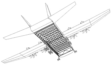 Aircraft designed for intermodal containers in transverse orientation. [US patent 9,205,910]